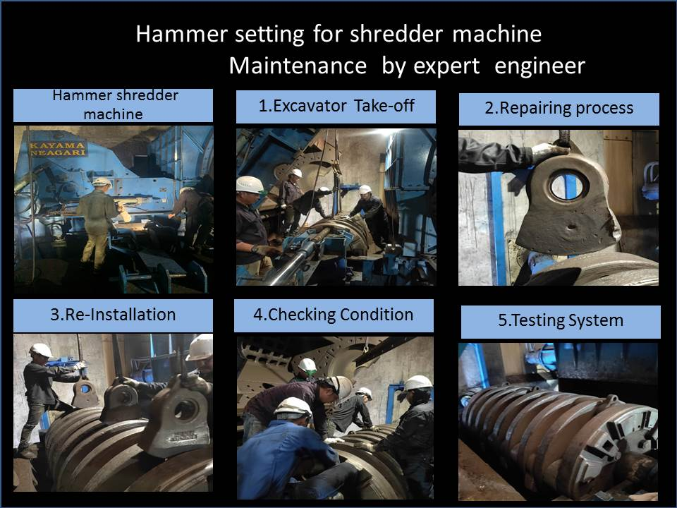 Hammer setting for shredder machine